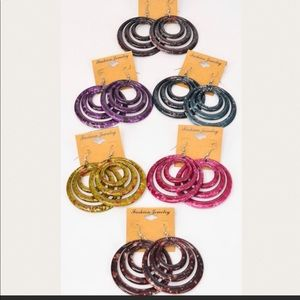 Acrylic/Resin, Retro Ring Design, Earrings